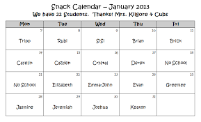 Snack Calendar Template Snack Calendar Template 28 Images Snack