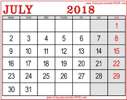 July August September 2018 Calendar July Month Calendar 2018 Printable
