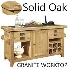 solid oak furniture large granite top kitchen island unit overhang