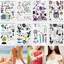 14821cm Yq Small Temporary Tattoo Sticker Feather Word Dreamcatcher Classic Fake Black Body Waterproof Tattoo Hand Neck For Kids Women Men