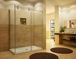 image of sliding shower door and tray with alternative to sliding glass shower doors