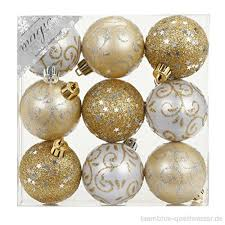 9 Stk Pvc Christbaumkugeln 6cm Gold Weiß Ornament