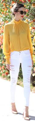 Best 25 Yellow blouse ideas on Pinterest Yellow top outfits.