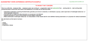 audiometrist work experience certificate