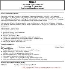 Resume Samples For Warehouse Warehouse Team Leader Cv Sample