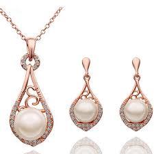 pearl jewellery 2016 fashion female fine jewelry vintage wedding bridal imitation pearl jewellery sets for women