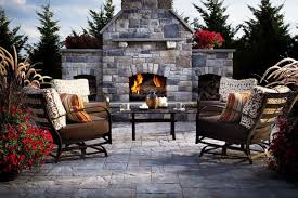 outdoor fireplace paver patio: earth tone pavers patio and outdoor fireplace