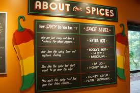 Spices Chart For Food Rockys Hot Chicken Shack Spice Chart Carrie On Travel