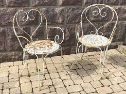 vintage wrought iron garden chairs set of 2 2