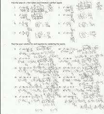 quadratic equation completing the square worksheet