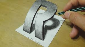 how to draw 3d letter drawing curved letter r trick art on paper for kids and s