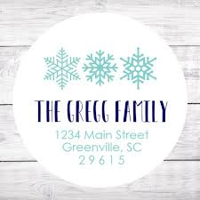 20 Christmas Address Labels Snowflake Round Stickers Matte Blue Holidays Personalized Christmas Card Personalized