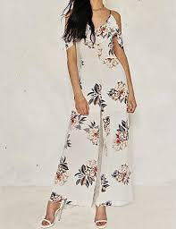 <b>Women's Floral Daily</b> / Going out <b>Casual</b> V Neck White Wide Leg ...