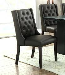 gray leather dining chairs set of 2 wood legs tufted back espresso faux leather dining chairs