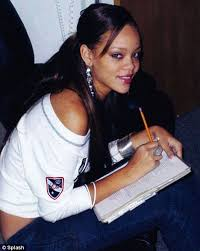 rihanna before she was famous. in the fame game: barbadian singer rihanna pens some lyrics to a song after moving states aged 16 pursue music career before she was famous