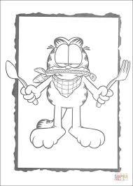 Garfield Met Mes En Vork Kleurplaat Gratis Kleurplaten Printen