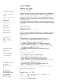 Interior Design Resume Templates Inspiration Interior Design Resume Template Interior Designer Cv Sample Free