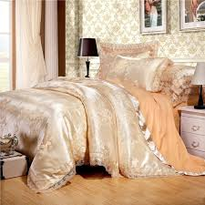 metallic gold and camel scroll pattern retro style shabby chic y lace edge jacquard satin full queen size bedding sets