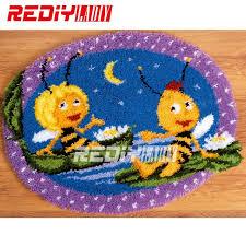 hot 3d latch hook rug kits diy needlework unfinished crocheting rug yarn cushion mat bee