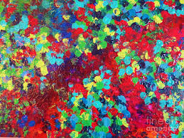 Rainbow Painting - Pond In Pigment - Bright Bold Neon Abstract Acylic  Floral Aquatic Painting Dots