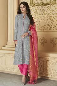 Designer Party Wear Churidar Grey Designer Party Wear Embroidered Straight Cut Salwar Kameez In Georgette