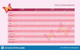 Pink Monthly Menstruation Calendar Of Menstrual Cycle With