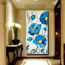 blue color thicktexture flower picture hand painted modern abstract oil painting canvas wall art picture gift