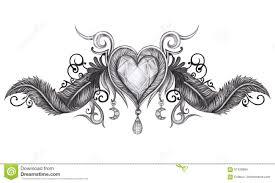 татуировка крылов сердца иллюстрация штока иллюстрации