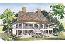 Eplans Country House Plan   Two Levels of Wraparound Porches    Front