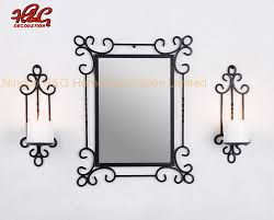 china wall mirror with two metal candle
