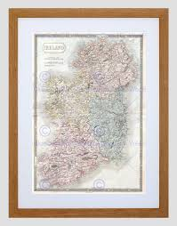 vintage black frame. 1850-HALL-MAP-IRELAND-VINTAGE-BLACK-FRAME-FRAMED- Vintage Black Frame M