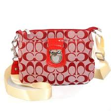 Coach Lock In Signature Small Red Crossbody Bags CFB