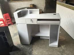 small white whole beautiful hair salon front desk counter used salon reception desk