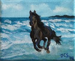 running horse 5 x 4 oil on canvas