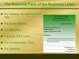 Letter Bussines The Essential Parts Of The Business Letter Ppt Video Online Download