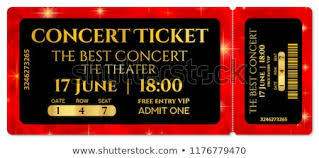 Show Ticket Template Ticket Template Concert Ticket Stars Tearoff Stock Vector Royalty