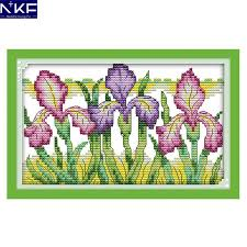 Modern Cross Stitch Patterns Classy NKF Gorgeous Iris Flower Style Needlework Embroidery Kits Handcraft