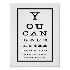 Funny Novelty Eye Test Chart Typography