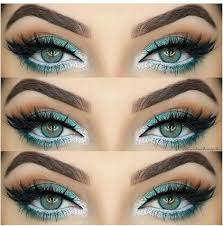 turquoise green eyes with white liner our eye liners here s