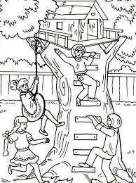 Small Picture Four Girl Having Fun with Their Treehouse Coloring Page Color Luna
