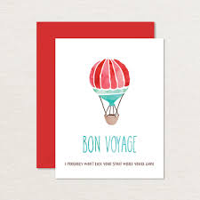 printable goodbye cards printable farewell card watercolor hot air balloon a2