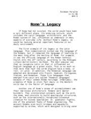 the code of chivalry was like the idea of r tic love in that  2 pages rome s legacy ec essay
