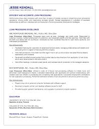 Loan Processor Resume Sample Senior Mortgage Example Entry Level