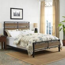 queen size wood bed frame. Modren Frame Walker Edison Furniture Company Queen Size Rustic Oak Metal And Wood Plank  Bed To Frame U