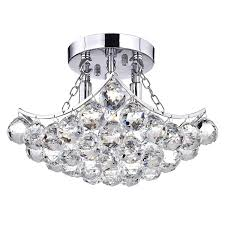 Otis Designs Lighting Fixtures Otis Designs 4 Light Chrome And Crystal Flushmount Chandelier