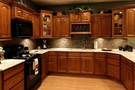 Small Modern Kitchen Paint Colors With Brown Oak Wood Cabinets And Ceramic  Backsplash Plus White Granite  Oak Wood Cabinets U33