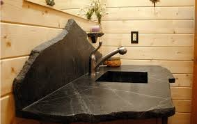 unique black soapstone countertop design for bathroom sink