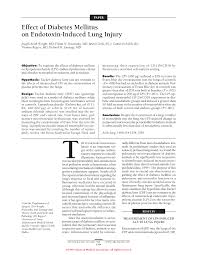 effect of diabetes mellitus on endotoxin induced lung injury first page pdf preview