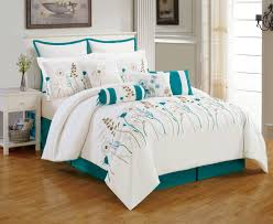 white and teal bedding sets queen