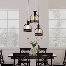 dining room pendant lighting fixtures. Unitary Brand Rustic Black Metal Cage Shade Dining Room Pendant Light With 3 E26 Bulb Sockets 120W Painted Finish Lighting Fixtures